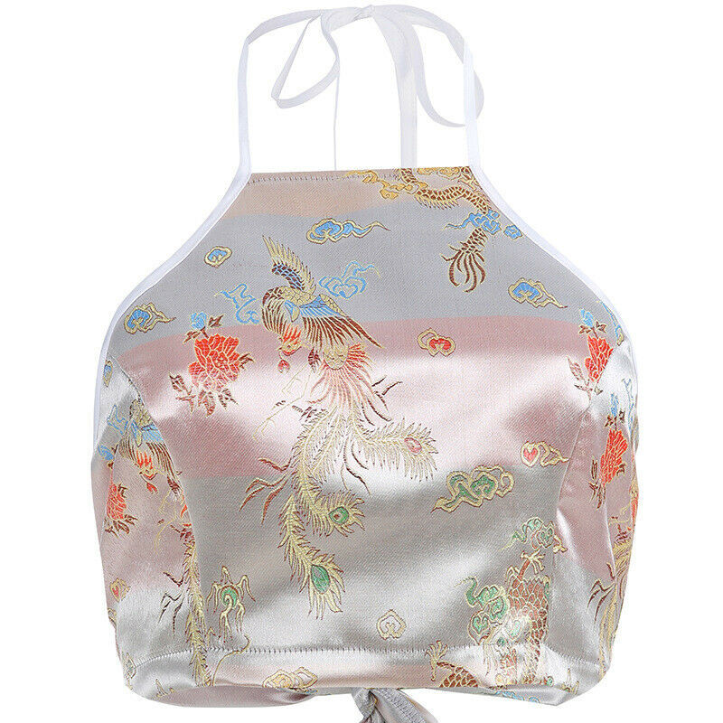 Women Chinese Style Dragon Phoenix Embroidery Short Blouse Sleeveless Crop Top Halter Tshirt Blackless Sexy Tank Top