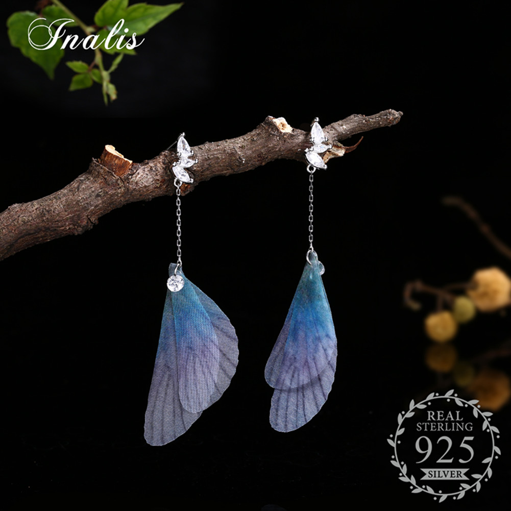 INALIS 925 Sterling Silver Beautiful Butterfly Wing Dangle Drop Earrings Gift Wholesale Women Jewelry Pendientes Aretes