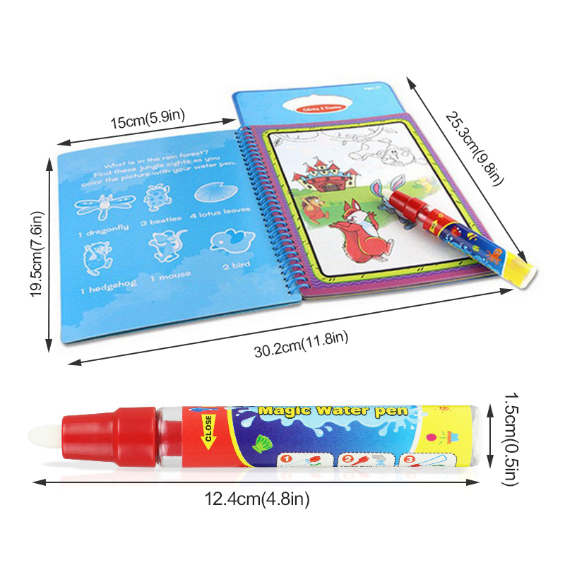 Magic Water Drawing Book Doodle Coloring Book With Water Pen ...