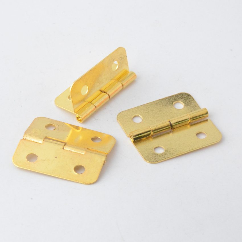 Free Shipping 20pcs Gold Tone Hardware 4 Holes DIY Box Butt Door Hinges (Not Including Screws) 29x26mm J3017