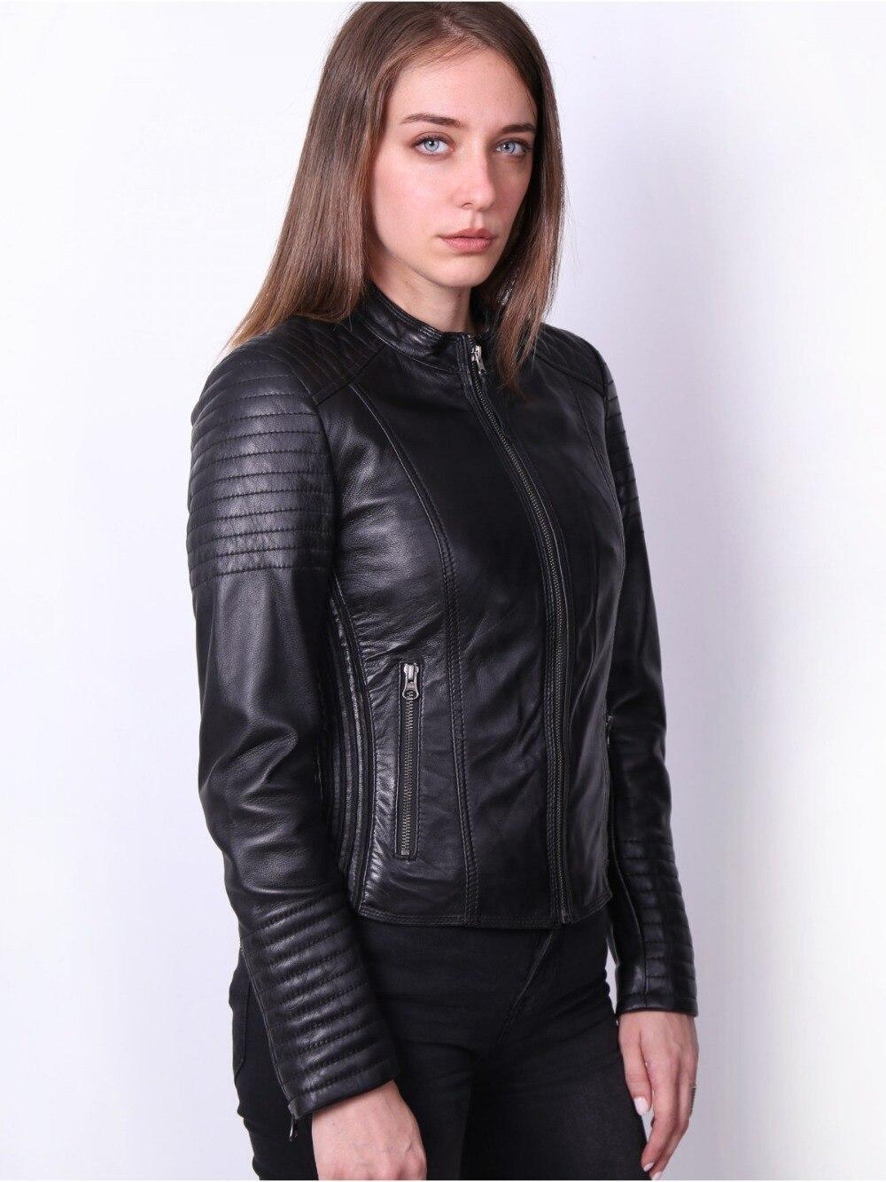 Женская байкерская куртка VAINAS, кожаная байкерская куртка из натуральной овчины европейского бренда