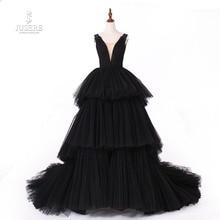 Jusere Gerçek Fotoğraflar Siyah Gotik Maxi Elbise balo kıyafetleri Yorgun Bardak Etek Abiye Kuyruk 2019 Yeni