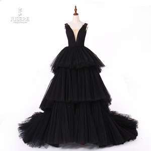 Image 1 - Jusere fotos reais preto gótico maxi vestido de baile vestidos cansado saia copo vestido de noite com cauda 2019 novo
