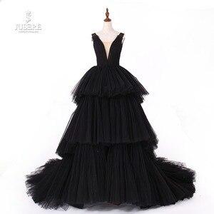 Image 1 - Jusere fotos reales negro gótico Maxi vestido de graduación vestidos de copa cansado falda vestido de noche con cola 2019 nuevo