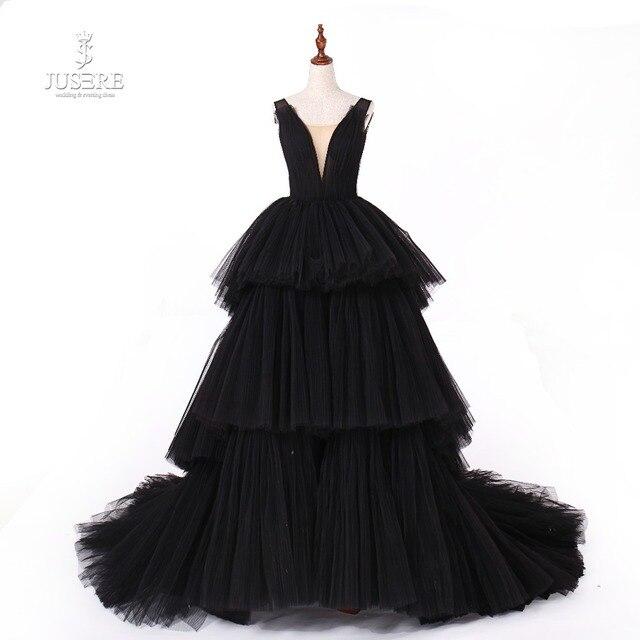 Jusere fotos reales negro gótico Maxi vestido de graduación vestidos de copa cansado falda vestido de noche con cola 2019 nuevo