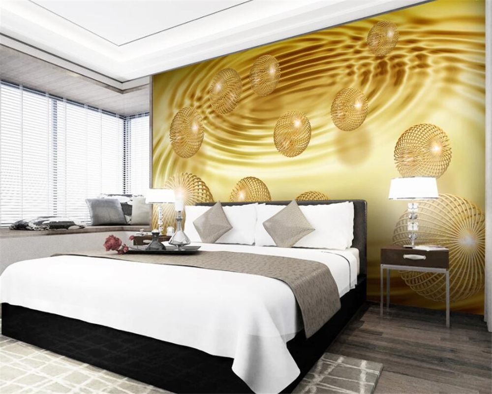 beibehang Custom Wallpaper Home Decorative Mural 3d Gold Ball Abstract Creative Space TV Sofa Background Wall mural 3d wallpaper