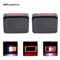 MALUOKASA 2PCs US Plug LED DRL DOT Brake Light For Jeep JK Wrangler 07 17 Rear