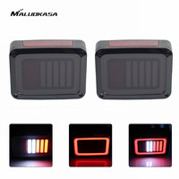 MALUOKASA 2PCs US Plug LED DRL DOT Brake Light For Jeep JK Wrangler 07 17 Rear