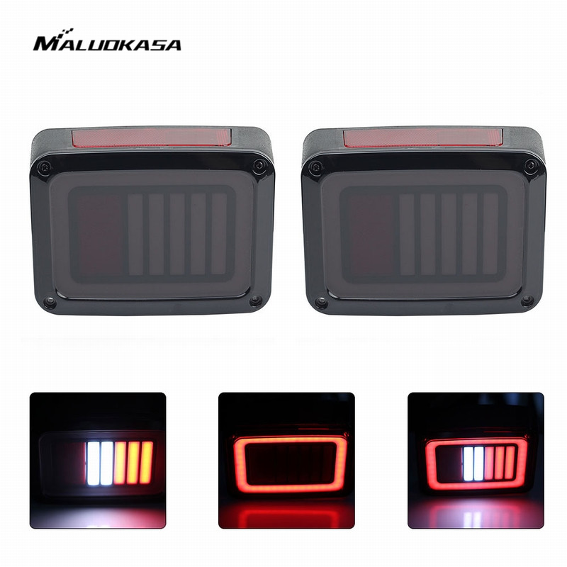 MALUOKASA 2PCs US Plug LED DRL DOT Brake Light For Jeep JK Wrangler 07-17 Rear Reverse Light Tail Lamp Automobiles Turn Signal 2pcs brand new high quality superb error free 5050 smd 360 degrees led backup reverse light bulbs t15 for jeep grand cherokee