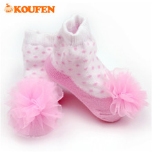 OKOUFEN Gauze Dot Jacquard Weave Infant Baby Socks Sweet Style Baby Girls Lace Dancing Socks  Girl Pure Cotton Spring And Autumn