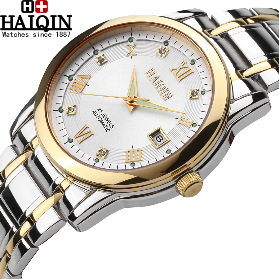 2017 New HAIQIN casual Watch Men Chinese Ultra-thin wristwatch male Automatic Self-Wind simple fashion Wristwatch clock hours ultra thin watch male student korean version of the simple fashion trend fashion watch waterproof leather watch men s watch quar
