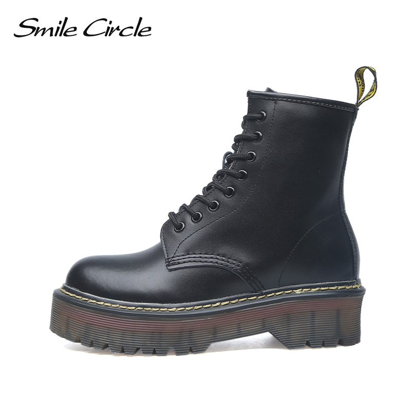 Boots Shoes Lace-Up Circle-Size Smile Autumn Winter Fashion Ladies Round-Toe Fur Flat