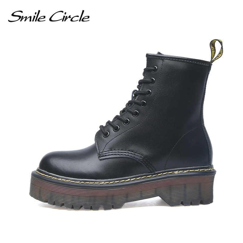 Gülümseme daire boyutu 35-42 düz Platform çizmeler kadın ayakkabıları sonbahar kış kürk moda yuvarlak ayak dantel-up deri çizmeler bayan ayakkabıları