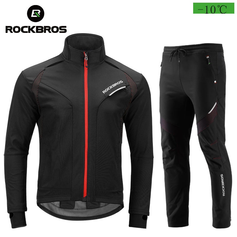 цена на ROCKBROS Cycling Jacket And Trousers Suits Men's Windproof Thermal Fleece Running Lined Active Jacket Pants Set Suit For Winter