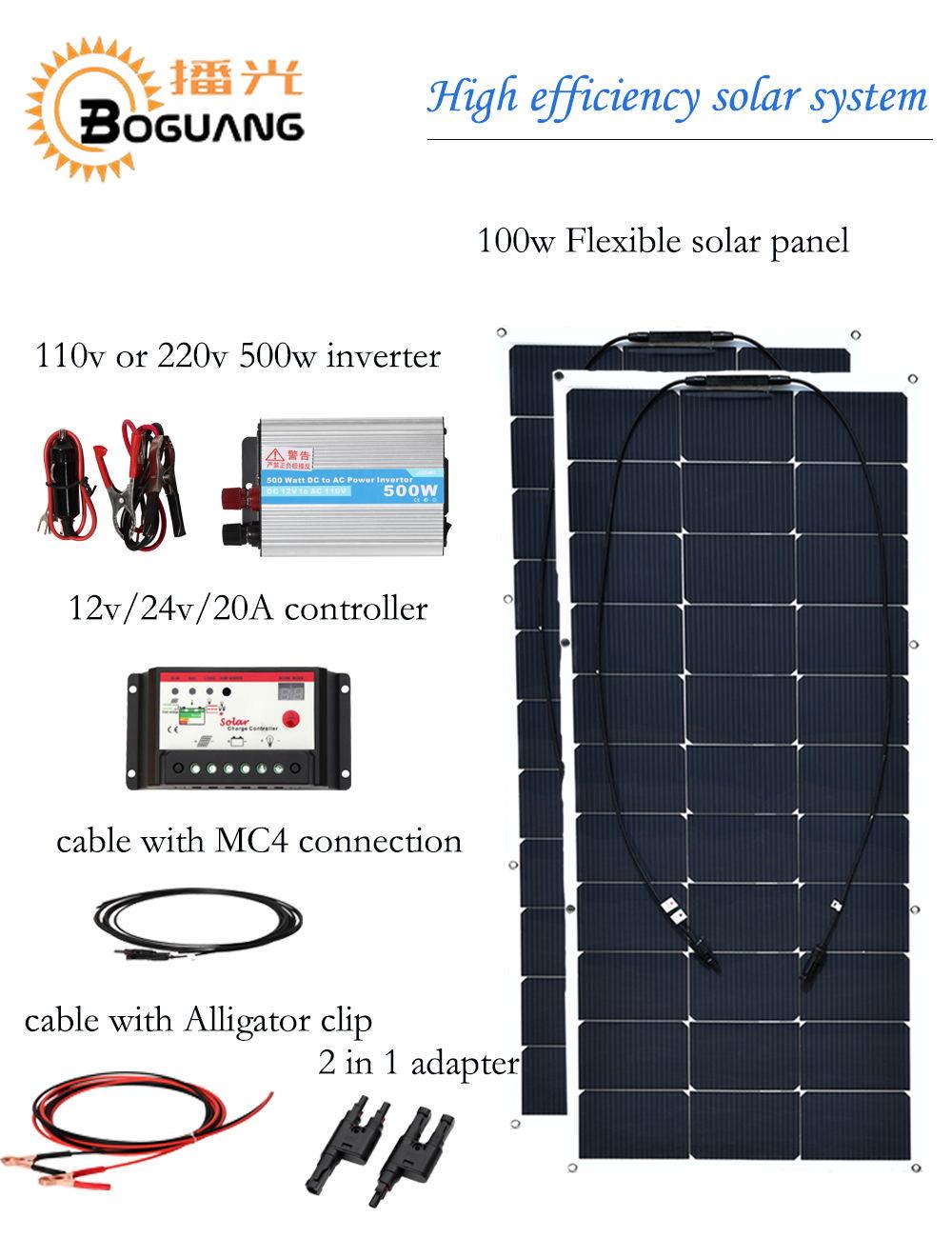Boguang 200w solar system 100w flexible solar panel  module efficient cell 110v 220v 500w inverter 12v/24v 20A controller cable boguang 500w semi flexible solar panel solar system efficient cell diy kit module 50a mppt controller adapter mc4 connector