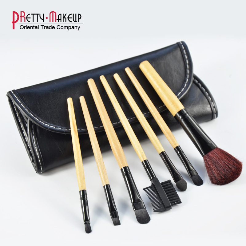 New Brand BB 7pcs Makeup Brushes Set Portable Make Up Brush With Black Case, With Logo, Free shipping