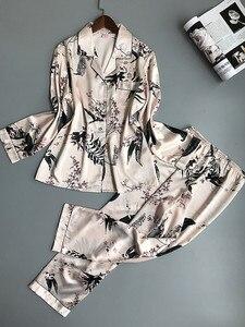 Image 4 - Lisacmvpnel Lente Afdrukken Patroon Vrouwen Pyjama Mooie Rayon Nachtkleding Lange Mouw Broek Twee Papier Pak