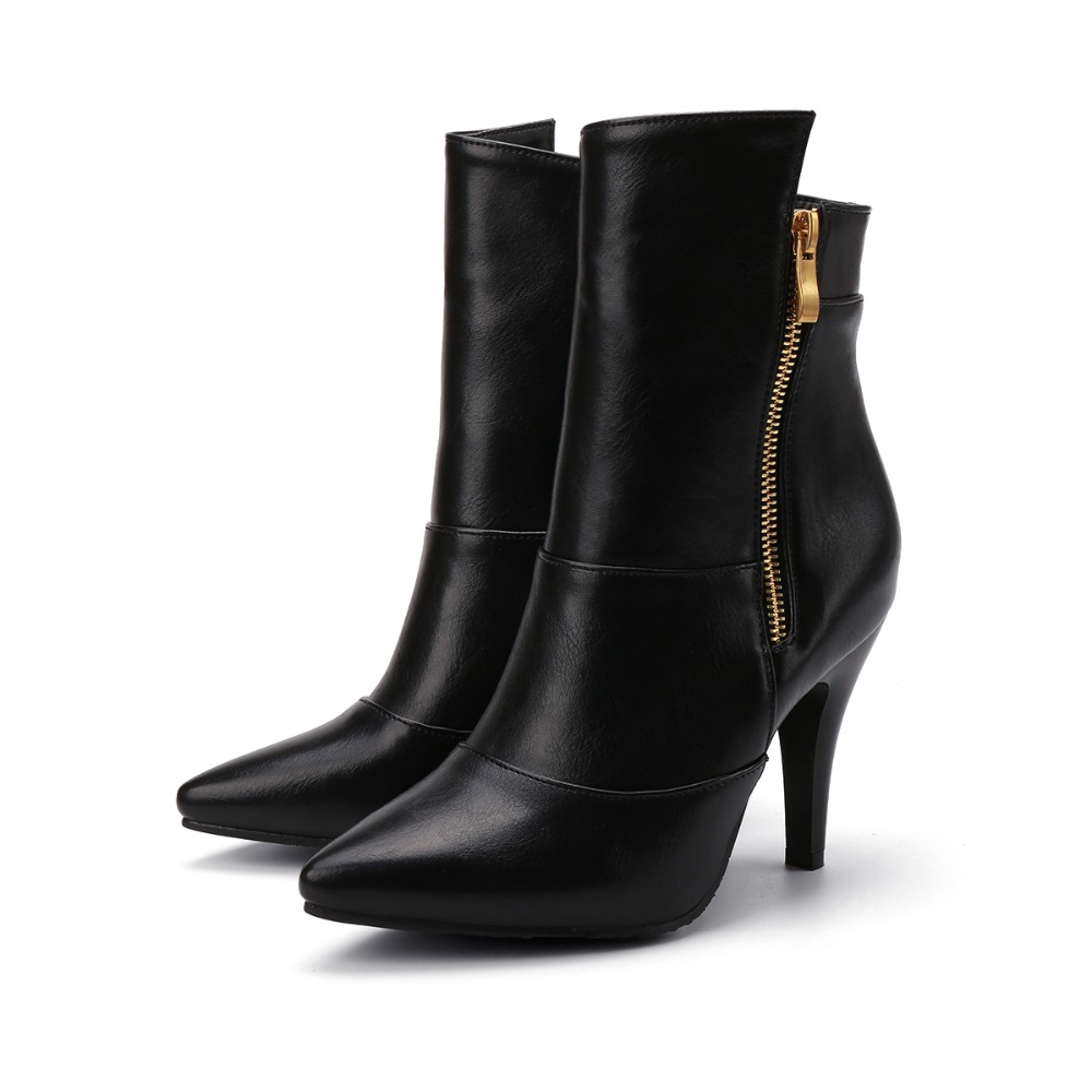 ФОТО Fashion Autumn Winter Boots Women Sexy Pointed Toe High Heel Zipper Shoes Woman Ankle Boots Plus Size