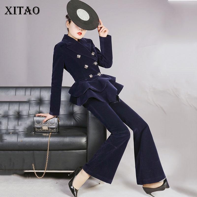 Completa Color Sólido Longitud Breasted Doble xitao Botón Manga Moda De Nueva Cuello Mujer Pantalones Wbb2360 Blue Superior H6qwA8P