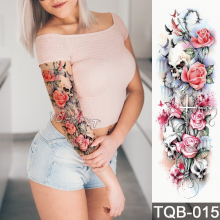 Uusi 1 kpl Temporary Tattoo Sticker Cross kallo ruusut kuvio Koko kukka tatuointi Arm Body Art Big Large Fake Tattoo