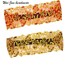 Womens lace embroidery elastic headband retro Scarf Hair Band fashion mesh hollow elegant hair ornament headdress