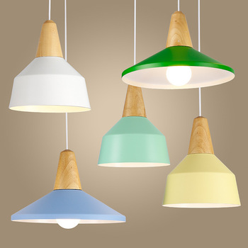 American Country Pendant Light Creative Wood Pendant Lamp iron metal Hanging Lamp Nordic Designer Light Art Deco Lighting Abajur