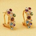 Новая Роза Позолоченный Бесплатная Доставка Italina Rigant Нескольких Кристалл Серьги Ювелирные Изделия Оптом для женщин Милые Мода Подарок
