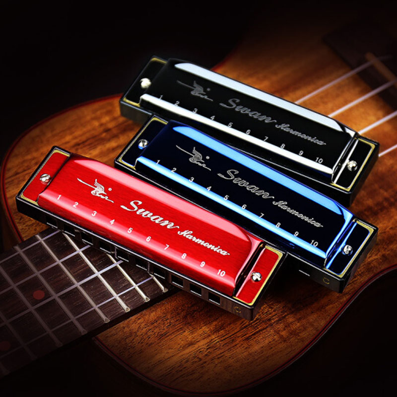 Купить с кэшбэком Harmonica 10 Holes 20 Tones Blues Jazz Rock Folk Chromatic harmoni Music Musical Instrument Diatonic Mouth Harp Swan 6 Colors
