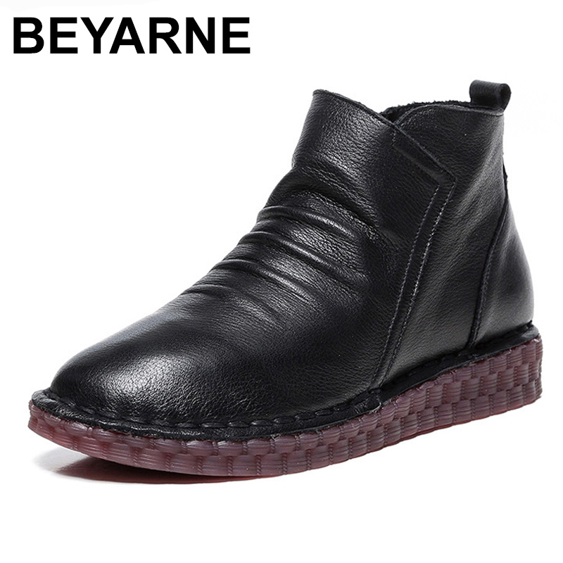 все цены на BEYARNE Fashion Handmade Shoes For Women 100% Genuine Leather Ankle Boots Vintage Flat Women Shoes Round Toe Martin Boots онлайн