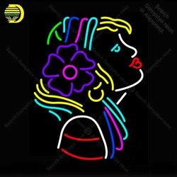 Neon znak dziewczyna z kwiatem Logo Neon światło dla sklep wyświetlacz Neon światła dekoracyjne sklep znaki Arcade reklamować światło neonowe niestandardowe