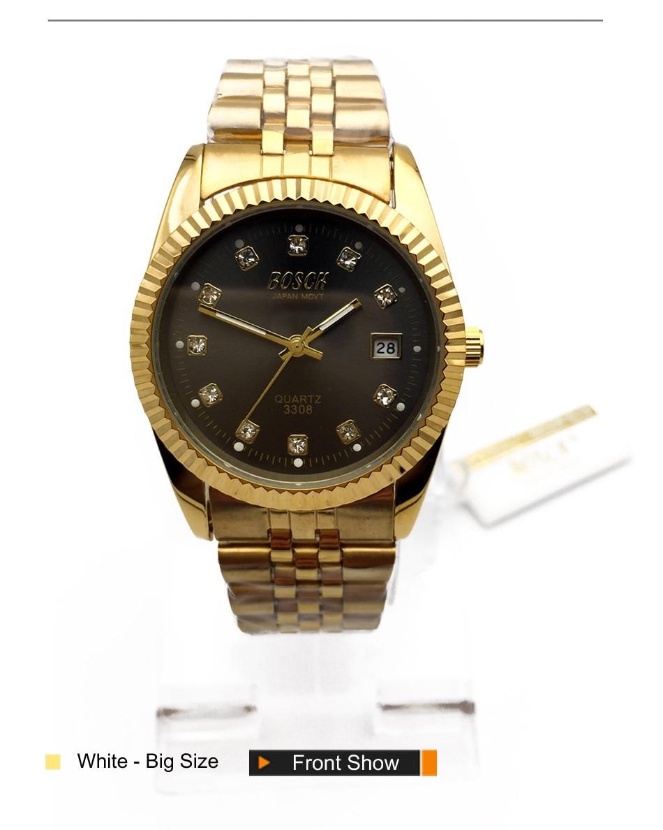 2a978f0b64e BOSCK 18 K Banhado A Ouro de luxo Da Marca Assista Homens Mulheres Moda  Militar Data Dia De Aço Inoxidável Relógio de Quartzo Homens de Negócios  relógios