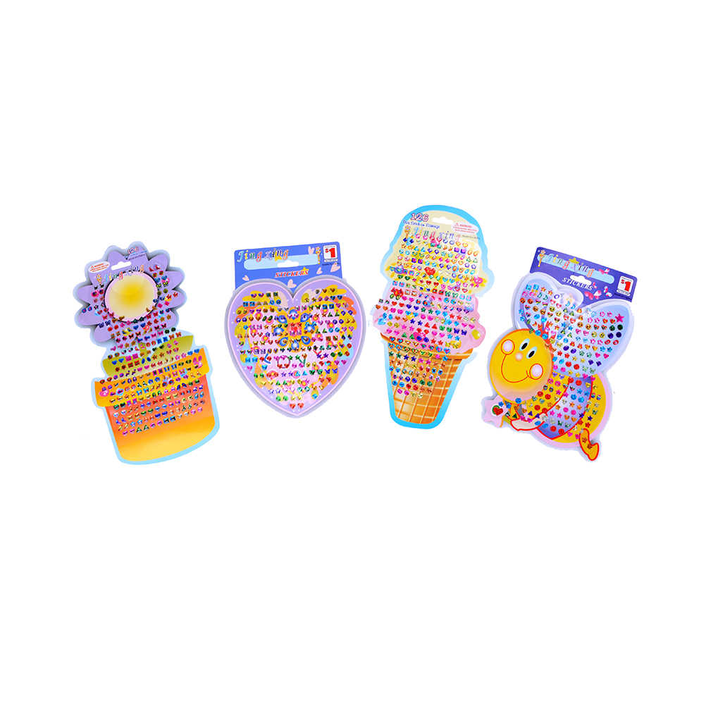 4Pcs/set Beautiful Kid Girl Crystal Stick Earring Sticker Toy Body Bag Party Jewellry for Kids Children Gift