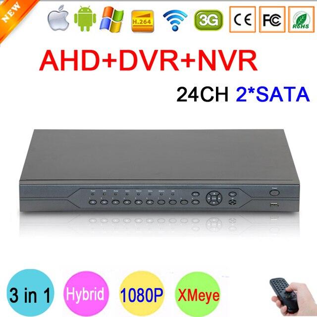 Hi3531a 24 canal 24ch 2 sata 1080 p/1080n/960 p/720 p/960 h 3 em 1 híbrido nvr ahd dvr vigilância video recorder frete grátis