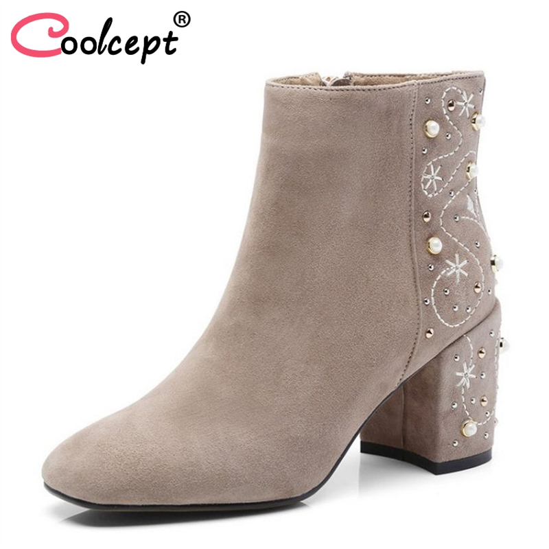 Coolcept Size 34-43 Women Ankle Boots Women's Shoes Beads Print Real Fur Leather Short Boots Ornate Ankle Boots Woman Footwear недорго, оригинальная цена