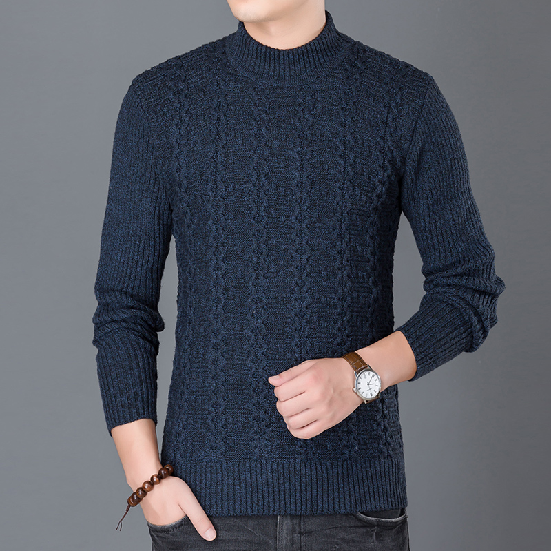 2019 New Fashion Brand Sweater For Mens Pullovers Turtleneck Slim Fit Jumpers Knit Warm Autumn Korean Style Casual Clothing Men