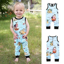 Summer Baby Clothes Toddler Infant Kids Baby Girl Boy Sleeveless Cartoon Pirate Print Zipper Romper Jumpsuit Baby Romper JY26#F(China)