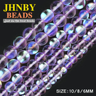 JHNBY Purple Labradorite stone beads High quality Synthetic Flash Stone 6/8/10MM Round Loose beads Jewelry bracelet making DIY
