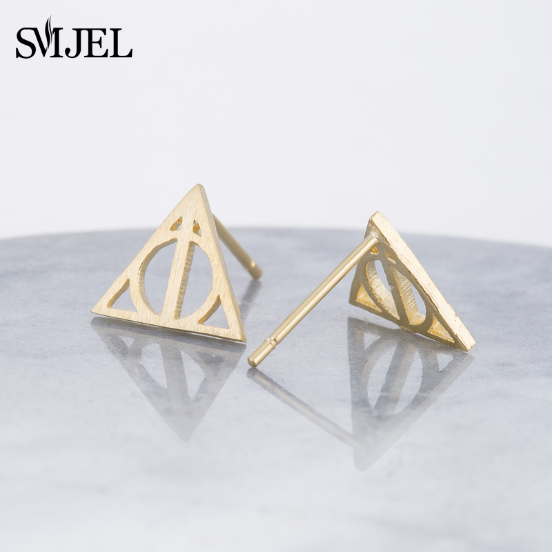 SMJEL Punk Gothic Magic Halloween Movie Earing The Deathly Hallows Earrings For Women Small Hogwarts Jewelry Birthday Gifts S238