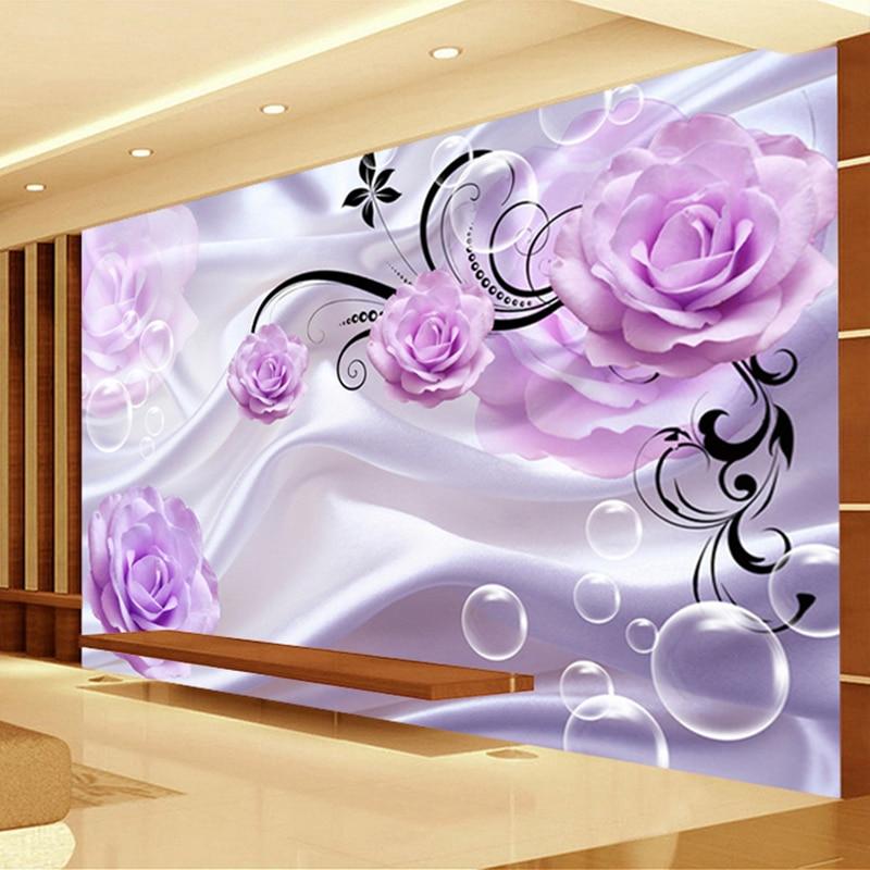 Custom Photo Wallpaper 3D Floral Purple Rose Silk Background Modern Simple Romantic Living Room Bedroom Wall Design Mural Paper