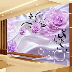 Custom Photo Wallpaper 3D Floral Purple Rose Silk Background Modern Simple Romantic Living Room Bedroom Wall Design Mural Paper(China)