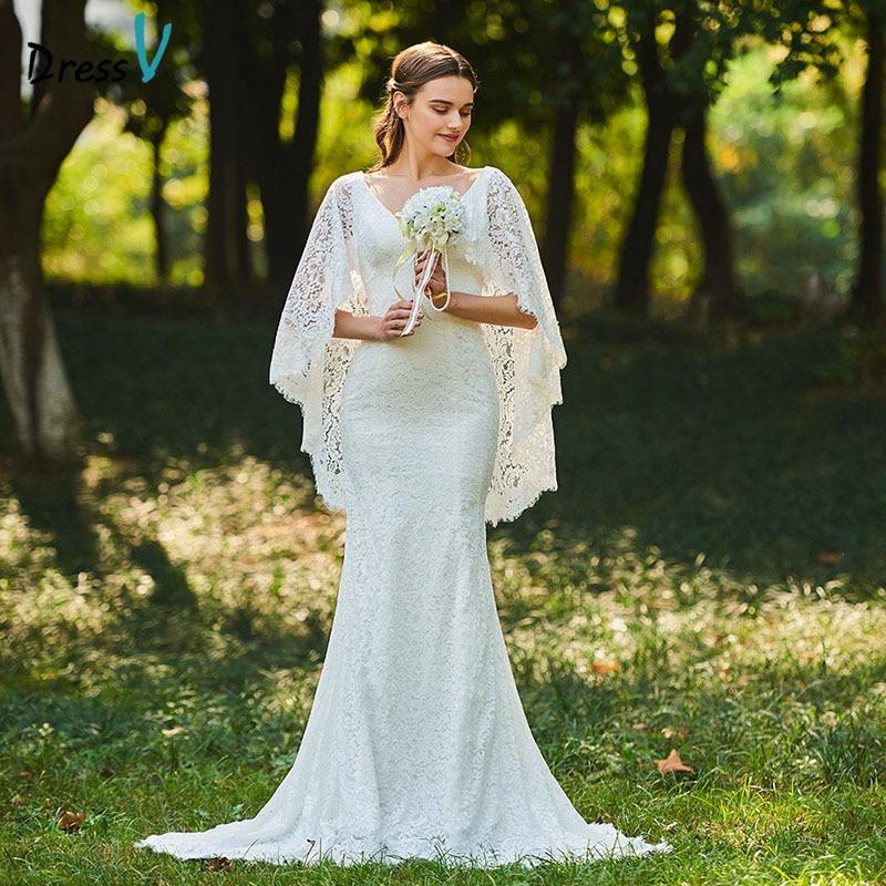 Dressv Long Wedding Dresses V Neck Floor Length Mermaid Court Train Lace Backless Elegant Church Garden Custom Wedding Dresses
