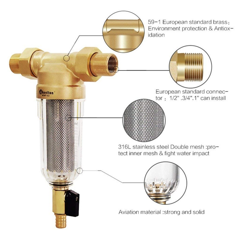 Wheelton eau pré filtre (WWP-02S) transporter deux essuie-glaces Euro-standard laiton 30 ans lifitime purificateur donner à votre famille une bonne santé - 2