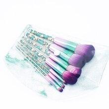 El más nuevo de 7 piezas diamante verde unicornio cepillo conjunto portátil Fundación mezcla en polvo cepillos cosméticos maquillaje bolsa de PVC