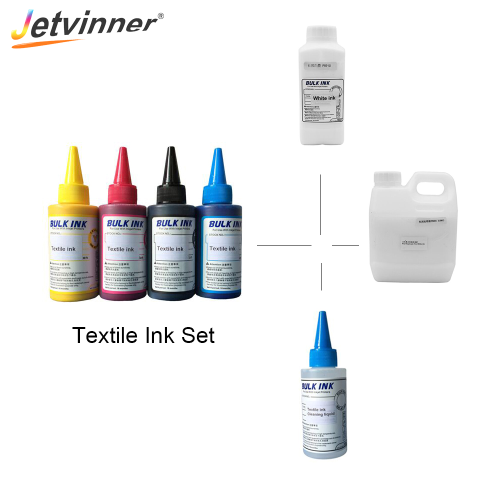 Jetvinner Textile Ink Set White Textile Ink Cleaning Liquid Textile White Ink Fixing Agent for Flatbed