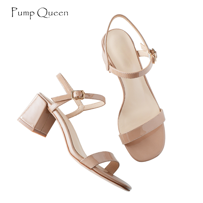 PumpQueen Summer Sandals Women 2018 New Arrival Fashion Buckle Ankle Strap Zapatos Sandalias Solid High Square Heel Sandals