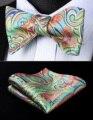Partido Bolso Quadrado Clássico Casamento BP930GS Paisley Verde Vermelho Homens Gravata Borboleta de Seda Auto Gravata Gravata conjunto lenço