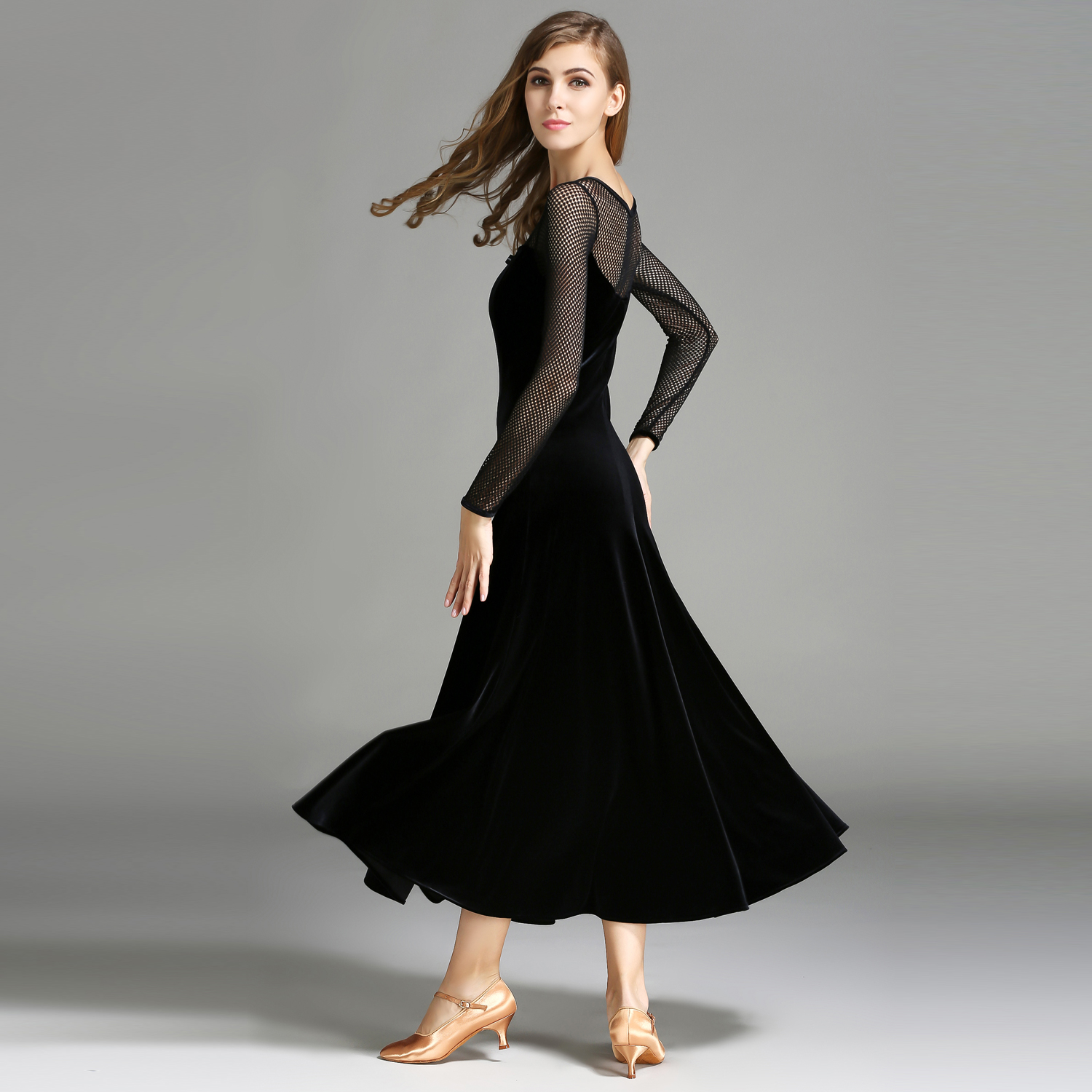 Modern Dance Costume Women Lady Adult Waltzing Tango Velvet Dancing Dress Ballroom Costume Evening Party DressModern Dance Costume Women Lady Adult Waltzing Tango Velvet Dancing Dress Ballroom Costume Evening Party Dress