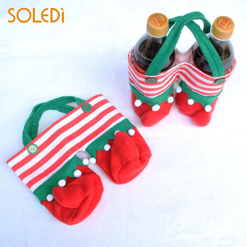 2Pcs Non-woven Christmas Juice Bottle Bag Storage Pounch Festival Supplies