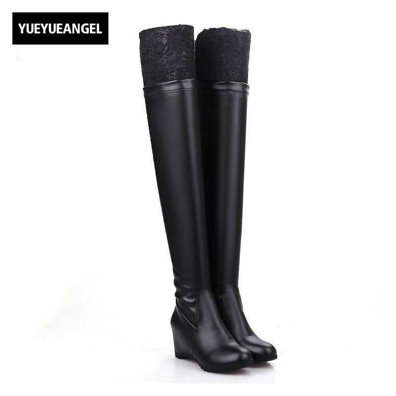 Sexy Lace Patchwork Women Over Knee Boots Black White Softshell PU Leather Lady Shoes Hidden Heel Slip On Antiskid Zapatos Mujer 2017 autumn fashion boots sequins women shoes lady pu leather white boots bling brand martin boots breathable black lace up pink
