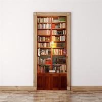 Retro Bookcase Door Stickers European Creative Bedroom Art 3D Wall Stickers Self Adhesive Mural Door Renovation